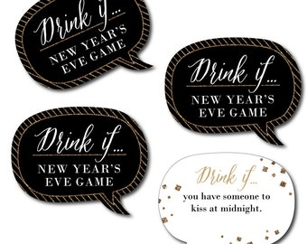 Drink If Talk Bubble Game - New Year's Eve -  New Years Eve Party Game - 24 Count Party Game Cards