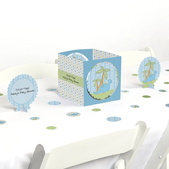Baby boy dinosaur centerpiece table decoration kit for Baby boy shower decoration kits