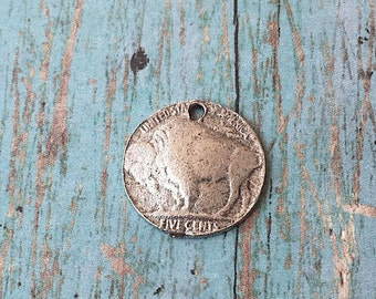 Buffalo charm pewter (1 piece) - silver bison charm, southwestern charms, pewter buffalo pendant, buffalo nickel charm, Indian charms, G16