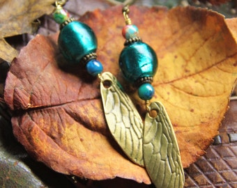 Blue, turquoise, elfin, fantasy, fairy, magical, earrings. Fairy wings, dragonfly wings, insect wings, bronze, glass, for festivals, OOAK