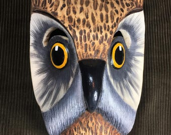 Owl hand carved wooden mask from Costa Rica