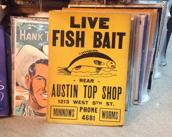 1930s Fishing Advertising Broadside Poster Austin Texas in VG Cond