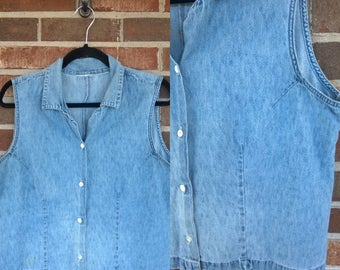 1990s Sleeveless Cropped Denim Button Up Blouse, L/XL