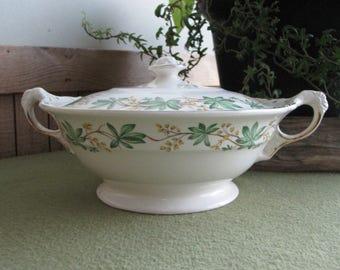 Crown Potteries Covered Vegetable or Serving Bowl 1951 Vintage Dinnerware Soup Tureen