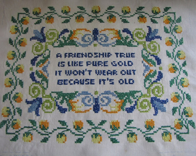 Friendship Embroidered Wall Décor Lee Wards Elgin IL 1975 Farmhouse Cross Stitched Friendship Sampler