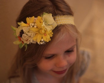 Yellow tie back,little girl tie back, Yellow floral tie back