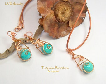 Turquoise Riverstone with Copper Necklace & Earrings