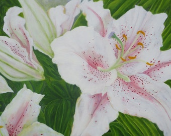 OOAK Flower Oil Painting White Lilies Linen Wall Art Green White Pink  Original Contemporary Art  by Zinnia Gallery