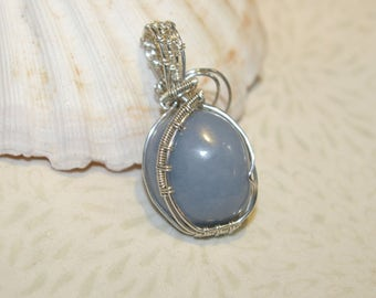 Blue Angelite  Pendant, Natural Stone, Periwinkle, Baby Blue, Sterling Silver Wire Wrapped, Wire Woven, Raw Stone, Handmade Pendant