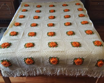 Vintage Hand Crocheted Granny Square Flower Afghan