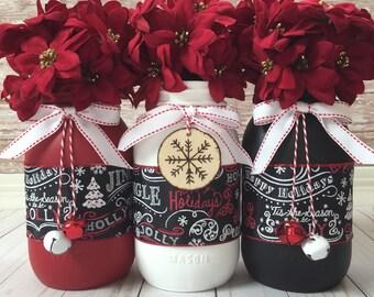 Rustic Christmas Home Decor, Christmas Centerpiece, Christmas Table Decor, Holiday Home Decor, Christmas Mason Jars