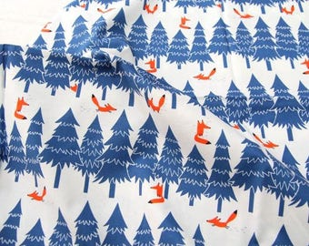Fox and Tree Pattern Digital Printing Cotton Fabric by Yard