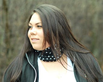 Multifunctionnal head band black and white with triangle, tube scarf, kids scarf, collar