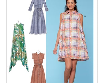 McCall's Sewing Pattern M7565 Misses' Shirtdresses with Sleeve Options, and Belt