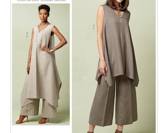 Vogue Sewing Pattern V1550 Misses' Pullover Tunic with Uneven Hem and Wide-Leg Pants