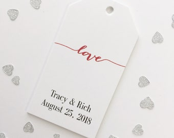 Wedding Favor Tags, Love Hang Tags, Customized Love Tags, Custom Wedding Tags, Custom Wedding Hang Tags  (MLT-007)