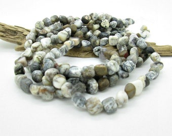 "Rustic Mottled Black Agate Nugget Beads 4-9x7-9mm (1 15""strand)"