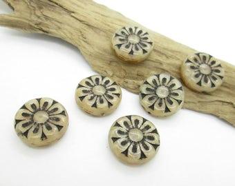 Glass Flower Disc Bead, Czech Glass Coin Flower, 18mm (6)
