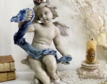 Vintage stone Cherub statue rhinestones crown feather wings