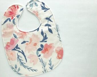 Personalized Baby Bib - Modern Baby Bib - Watercolor Floral Baby Bib - Spring Floral Baby Bib -White Minky Backing - Handmade Baby Gift
