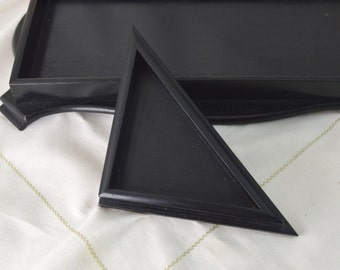 Real Ebony Wood Small Corner Valet / Desk Tray Divider - Triangle Dish for Trinkets Cufflinks Studs Treasures Made in England Antique 1920s