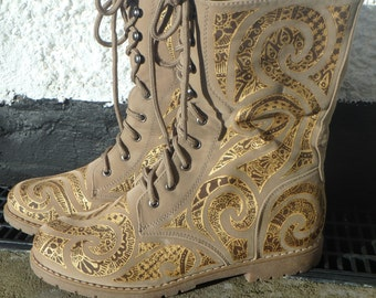Hand Painted, Psychedelic,  Faux Suede, Combat Boots. Size 39, UK 6, US 8.5. Brown and Gold Henna Inspired Design.