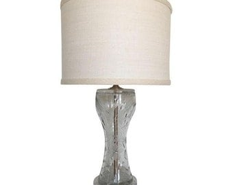 1940s Etched Glass Lamp