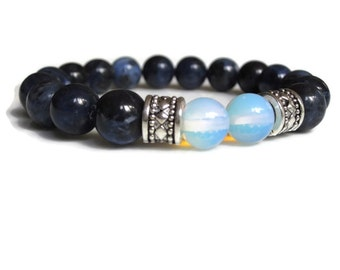Mens bracelet, mens beaded bracelet, peace protection bracelet, Sodalite gemstone bracelet, bracelets uk