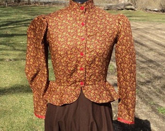 "Sz 8 (bust 35-36""waist 27-28"") Women's Brown Grapeleaf Calico Pioneer Little House on the Prairie Historical Wild West Blouse-READY-TO-SHIP"