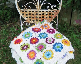 "Granny Square afghan ""thousand flowers"""