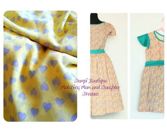 Matching Mother and Daughter Yellow Hearts Dresses/Matching Outfits/Mommy and baby dresses/Mother daughter matching dress/Easter Matching