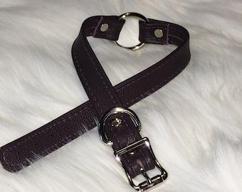 Dark Purple Leather O-Ring Choker Style Collar