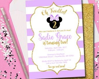 Minnie Mouse Invitation, Minnie Mouse Birthday Invitation, Oh Twodles, Birthday Invitation, Purple and Gold, Minnie, Printable 5x7