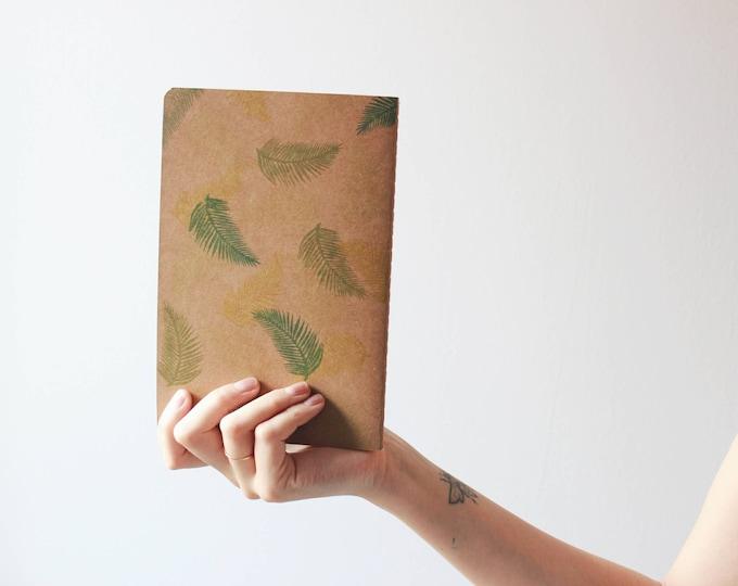Handmade notebook, palm leaves notebook, summer notebook, kraft notebook, made in barcelona, bookbinding, minimal notebook, summer journal