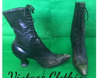 c1900s Utz and Dunn Antique Victorian High Top Boots, Leather Lace Up Boots,Granny Boots, Edwardian Boots, 1900-1909 Boots, Utz & Dunn Boots
