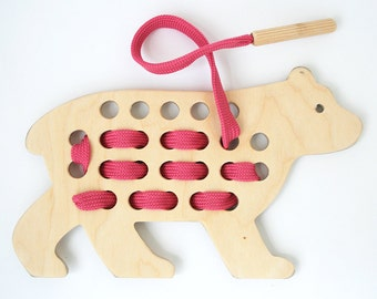 Wooden Lacing Toy/ Organic Toy/ Educational Toy/ Toddler Development Wood Toy / Montessori practical life / Animal shapes