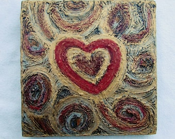 Hearts--Original Painting on Wood Block--Textured Art--Gold-Red-Pink--Valentines--Hearts Wall Decor--Love--Romantic Art--House Gift.