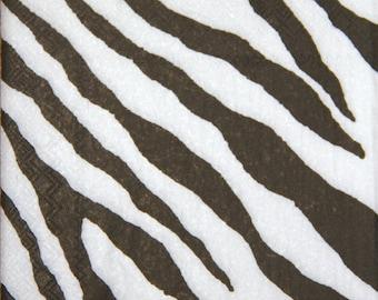 "African paper napkin serviette No 44. Design of zebra skin. Ideal for decoupage, collage, scrapbooking. Size: 13"" x 13""(33cm x 33cm)"