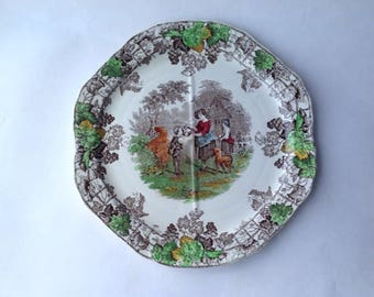 Copeland Spode Byron Series No 2 Four Section Sandwich Plate English Rural Scene Pastoral Transferware Octagonal Quartered Serving Plate