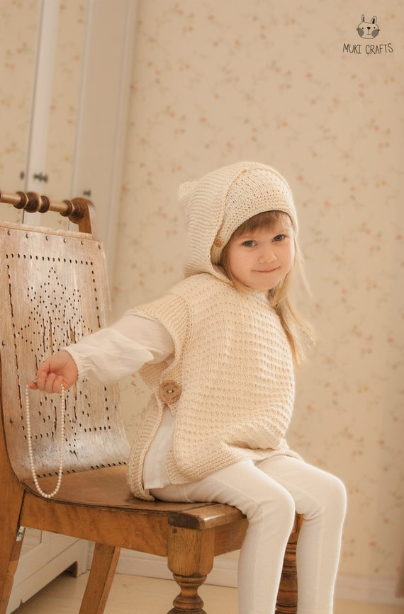 KNITTING PATTERN hooded poncho Laureen with a slouch hat (toddler, child, adult woman sizes)