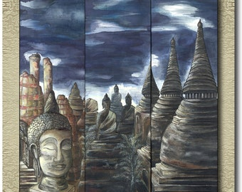 Ayutthaya - Original Silk Painting on 3 Panels