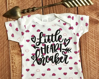 Little Heart Breaker Valentines Day baby T-Shirt with Glitter Pink  graphic. Size 9-12 Months .