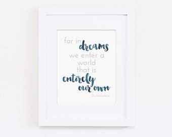 Boys Navy Nursery Theme, For In Our Dreams Nursery Art Print, Nursery Wall Art, Kids Wall Art, Modern Baby Bedroom Art, Kids Art Printable