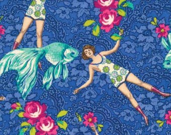 Blue What Would Poseidon Say Cotton Woven - Neptune and The Mermaid by Tokyo Milk