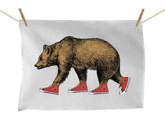 Bear Patrol in Sneakers, Tea Towel