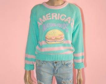 Vintage 80s Pastel Fairy Kei Kawaii Hamburger Sweater Junk Food Ugly Novelty Pink Green Oversized rare Small