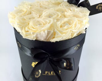 Champagne - cream preserved roses - black hatbox - personalised cream or black ribbon.