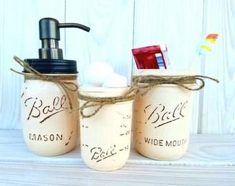 Mason jar bathroom set
