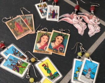 Seven Pairs of Laminated Pierced Earrings with Beads featuring Tarot Cards