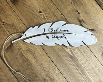 Feather ornament, I believe in angels, feather christmas ornaments, christmas decor, feathers